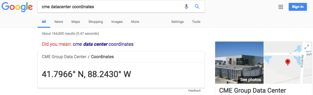CME Datacenter Coordinates Google